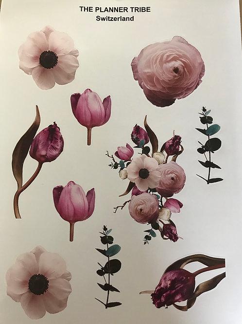 A4 Stickerblatt von THE PLANNER TRIBE - Blütenreich