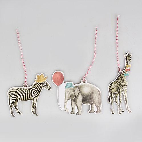 12er Set mit Geschenkanhängern Wilde Tiere