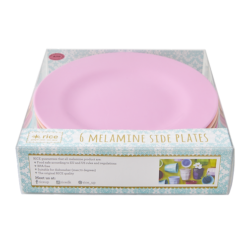 6er Set farbige Teller - pink /apricot / türkis