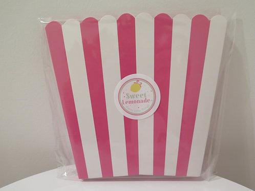 Süsse Popcornbehälter - pink gestreift - 6 Stück