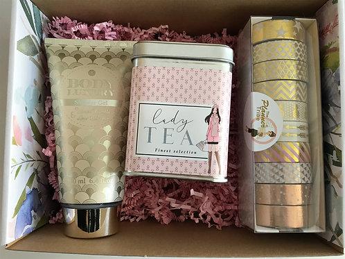 Geschenkset in Blumenbox - gold/rosa