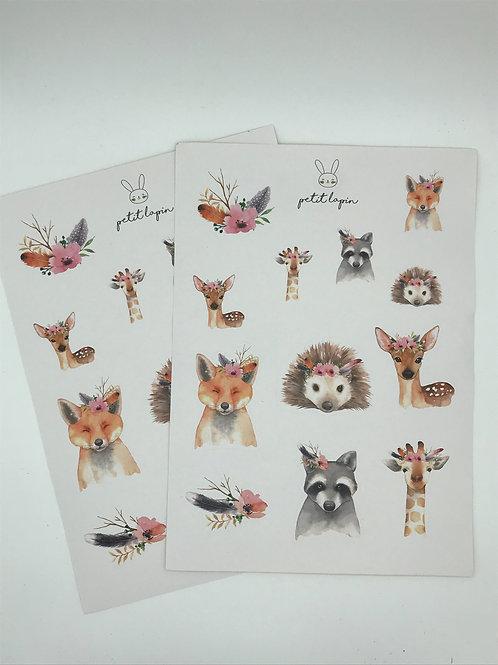 Sticker-Blatt mit Boho Tieren