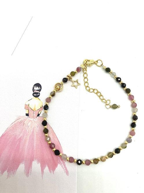 Süsses Armband mit feinen Turmaline Steinchen - gemischte Farben