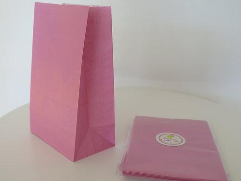 Papiertüten mit Boden - 12 Stück - uni pink / rosa