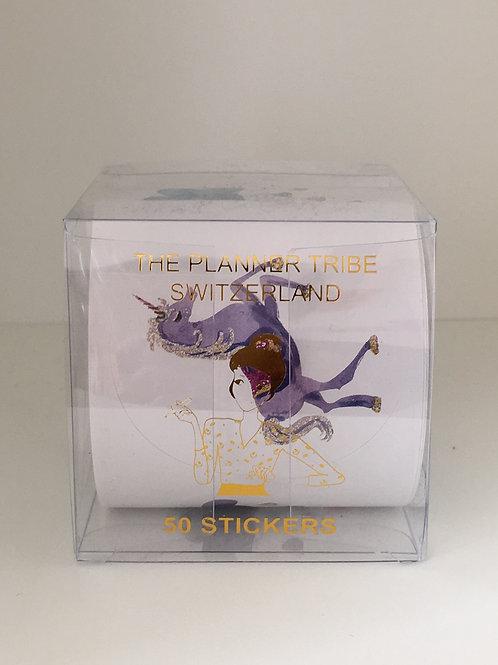 Box mit einer Rolle mit 50 Stickers - Einhorn