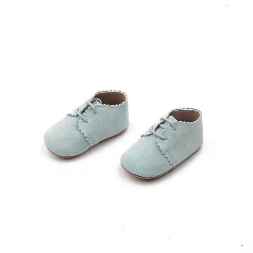Festliche Lederschuhe für Babies -  Wildleder hellblau