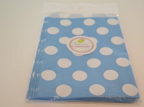 Papiertüten - 12 Stk. - Punkte hellblau