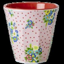Grosser Becher -  feine rote Pünktli mit Blüten
