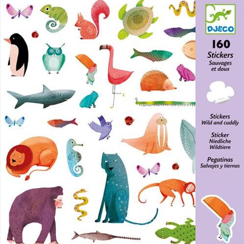Sticker-Set - 160 Sticker - Niedliche Wildtiere