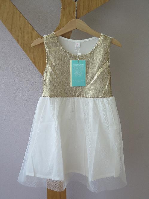 Silvesterkleid / Tanzkleidchen weiss / gold