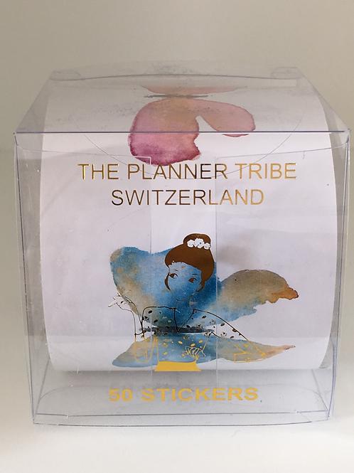 Box mit einer Rolle mit 50  Schmetterlingsstickern