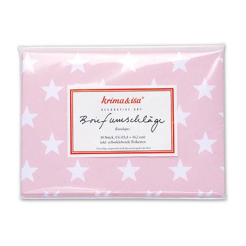 Briefumschläge, 10 Stück mit Etiketten, Sterne