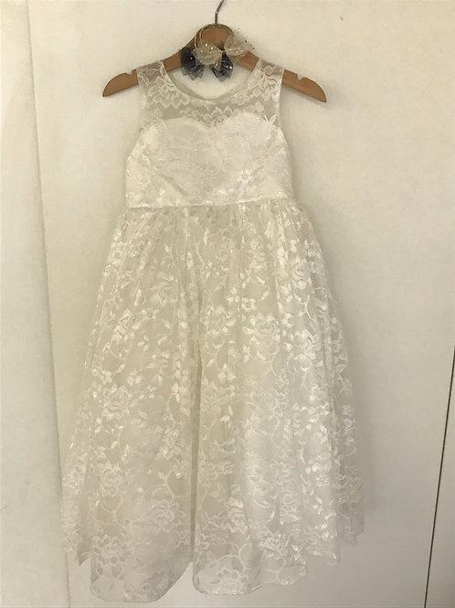 Blumenmädchenkleid - Weisse Spitze