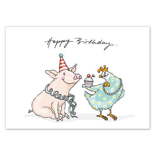 Postkarte Geburtstag Huhn und Schweinchen