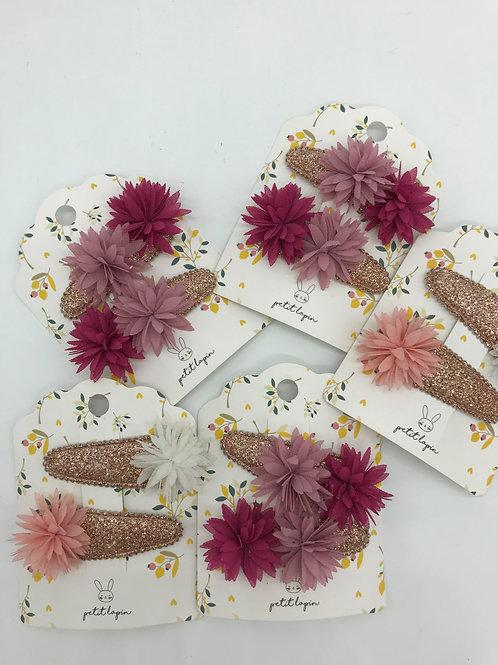 VE 20 Packungen : 2er Set  Haarspängeli Chiffon Blume