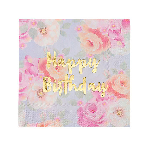 Servietten geblümt Happy Birthday