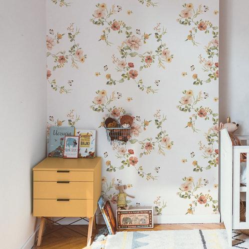"""Vlies Tapete """"Vintage Blumen"""" Bahn 280 cm x 50 cm"""