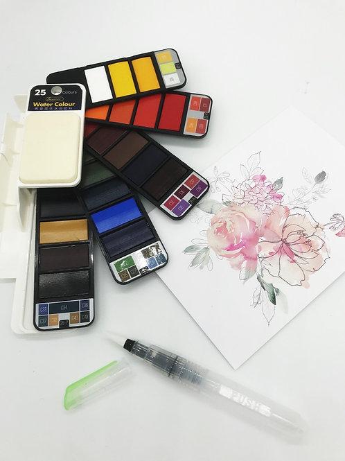 Wasserfarben für unterwegs inkl. Pinsel - 25 Farben