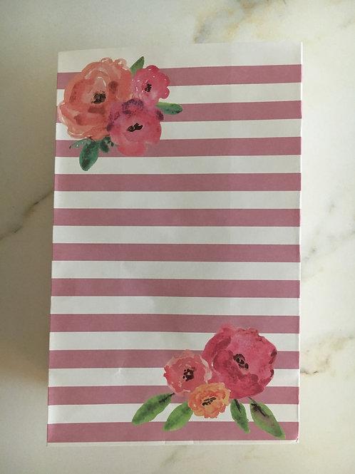 12 hochwertige Geschenktüten - Streifen rosa-