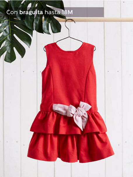 Festliches Mädchenkleid rot mit  Schlaufe