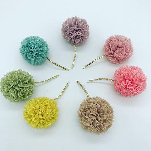 handgemachte Tüllpompom Haarnadeln - Candy Pop