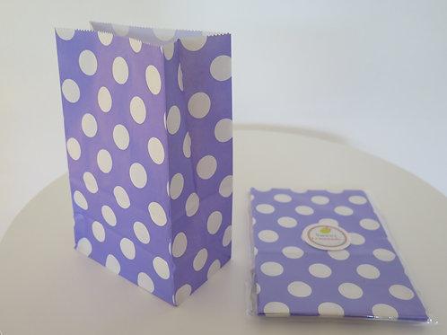 Papiertüten mit Boden - 12 Stück - Punkte lila