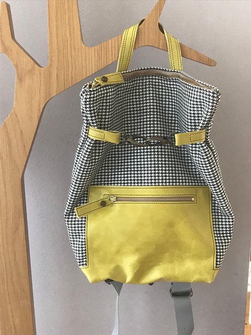 Rucksack aus Stoff und Leder gelb - Schweizer Handarbeit