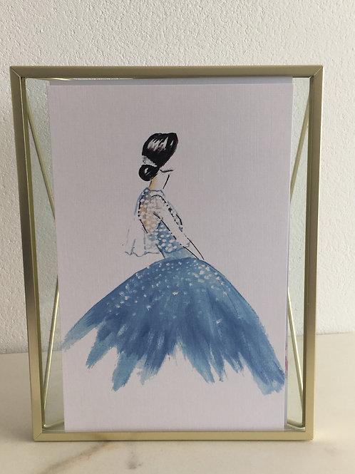"""Künstlerbild/Karte aus Leinen - """"Das blaue Kleid"""""""