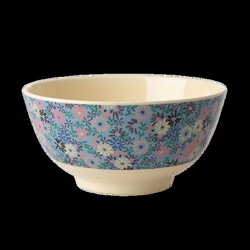 Kleine Frühstücksschale - feiner Blumenprint blau