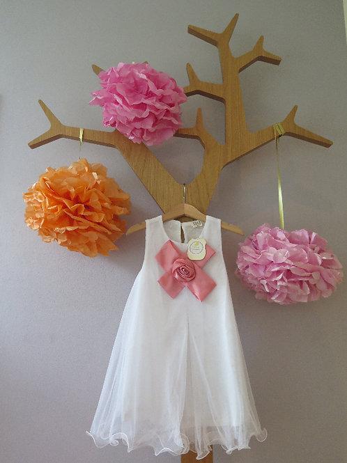 Hängerchenkleid aus Chiffon mit  Blume - weiss