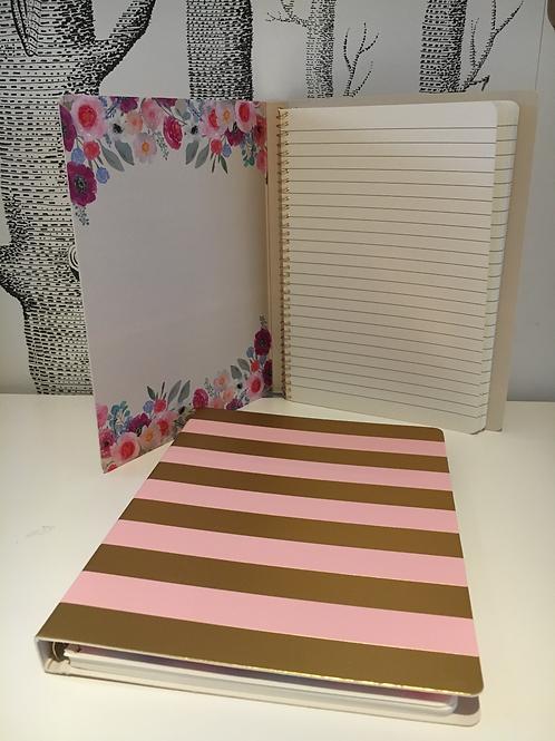 Spiral Notizbuch - gold/rosa gestreift 110 Seiten