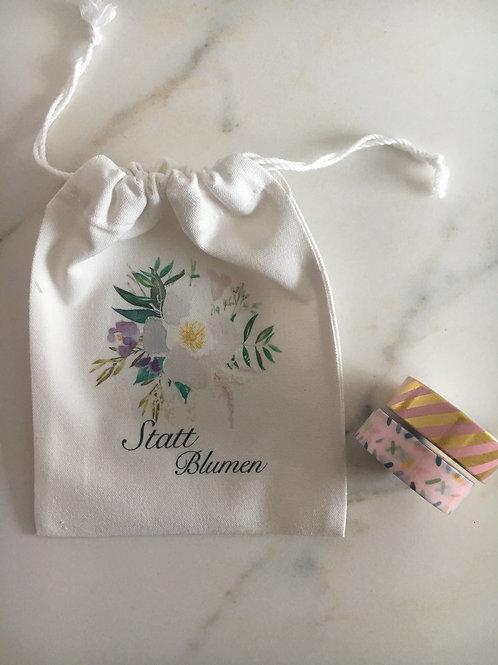 Leinenbeutel für kleine Geschenke: Statt Blumen