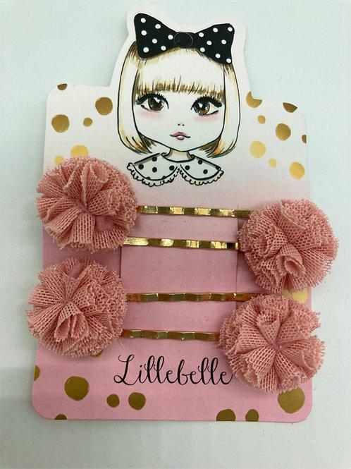 4er Set Haarpins aus Chiffon - rosa