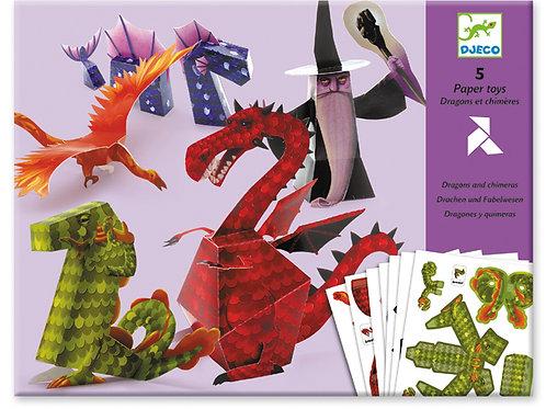 Papiermodelle - Zauberer und Drachen