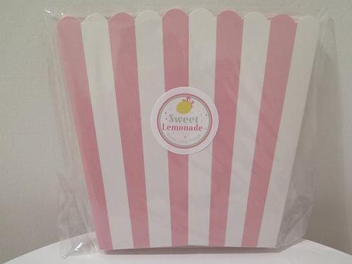 Süsse Popcornbehälter - rosa gestreift - 6 Stück