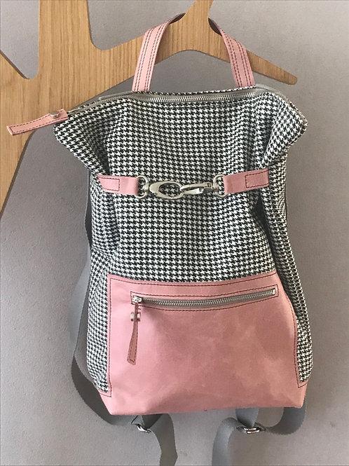 Rucksack aus Stoff und Leder rosa - Schweizer Handarbeit
