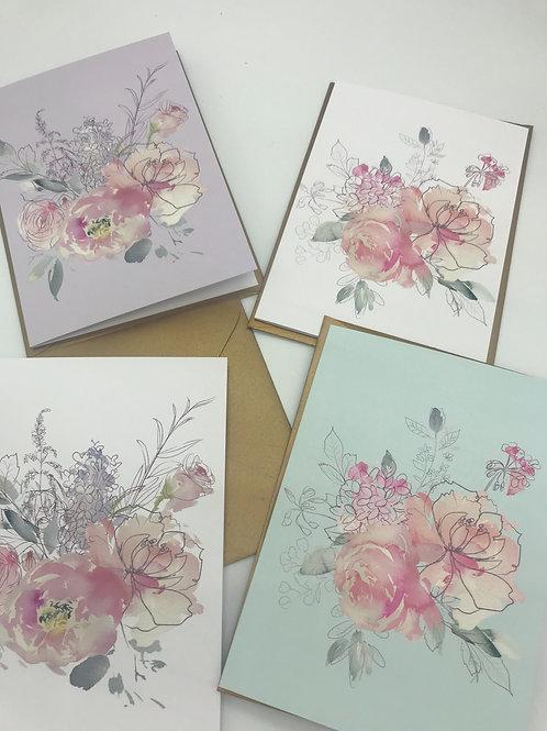 Blumenkarte mit goldigem Umschlag