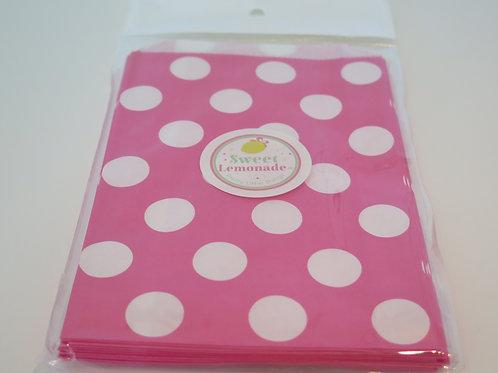 Papiertüten - 12 Stk. - Punkte pink
