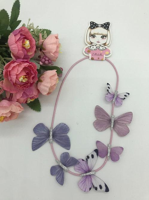 VE 10 Packungen :  LILLEBELLE Haarband mit 7 Stoffschmetterlingen - altrosa/lila