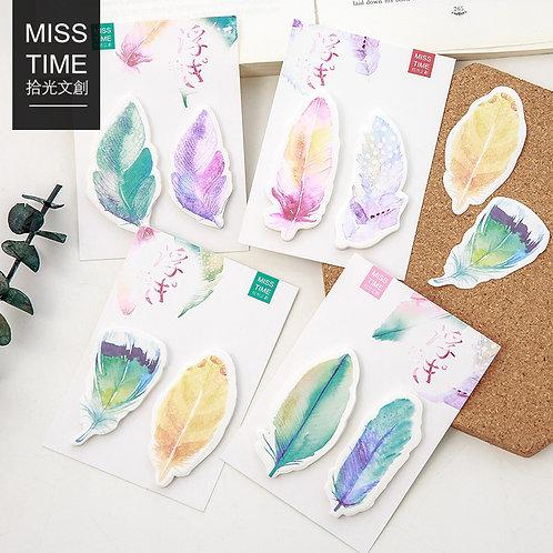 Japanische Federn - 2er Set Haftnotizen 4 Farben