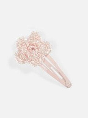 Kleines Haarspängeli mit Häkelblume - rosa