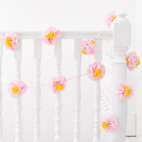 Pompom Blumen Wimpelkette