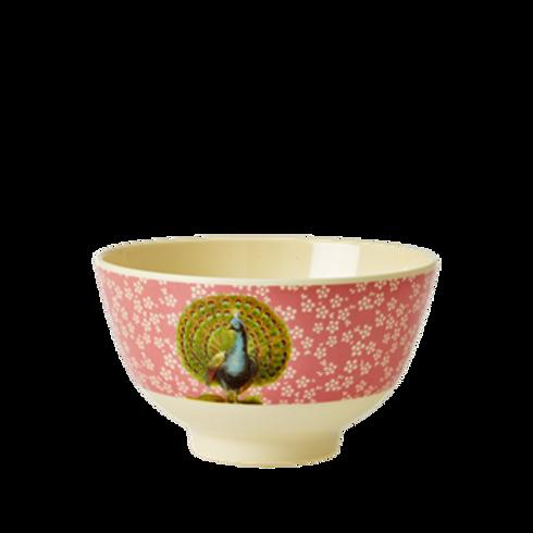 Kleine Frühstücksschale - rosa Pfau