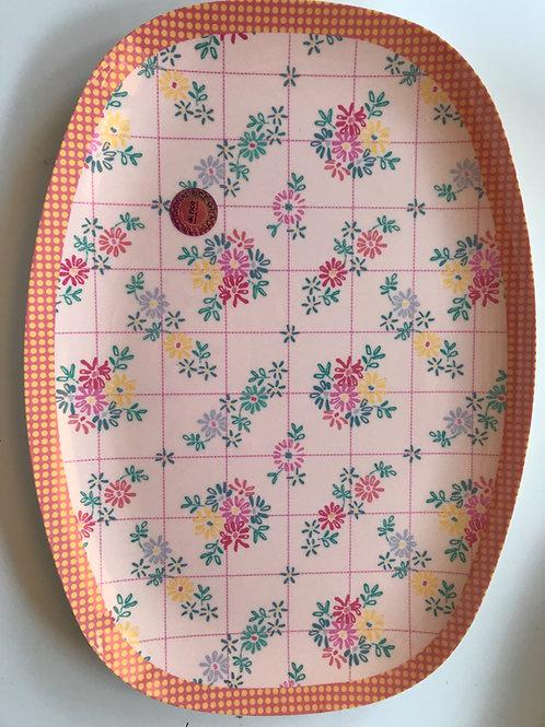 Wunderschöne Platte - feine Blümchen orange/rosa