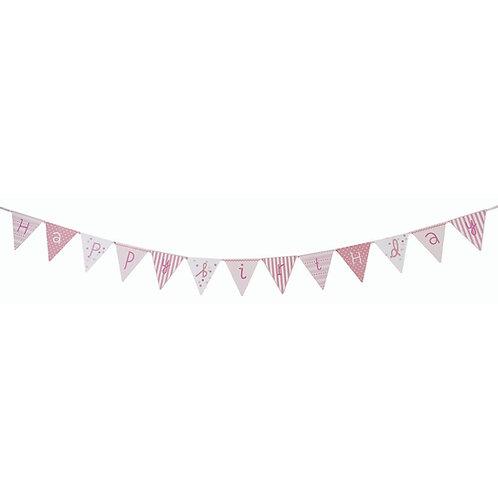 Happy Birthday Papier-Wimpelkette rosa