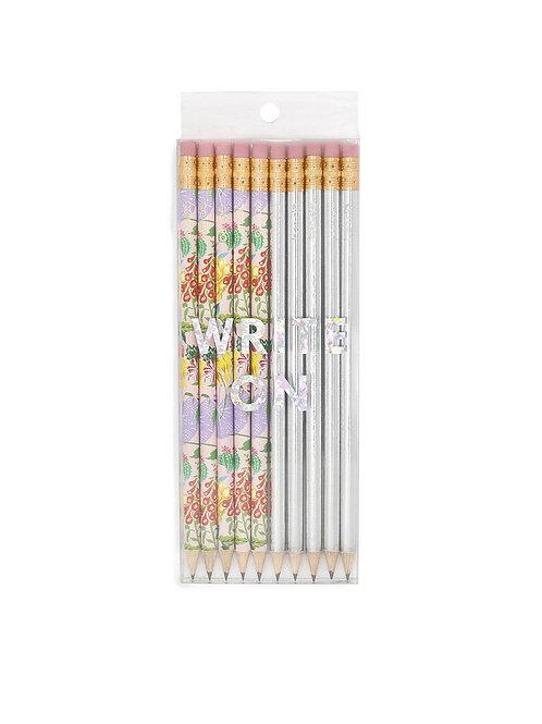 10er Set Bleistifte mit Sprüchen - silber Mix