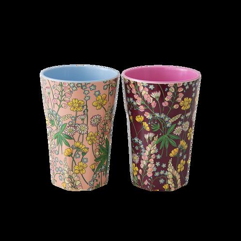 2er Set hohe Becher -  Lupin Blumenmuster
