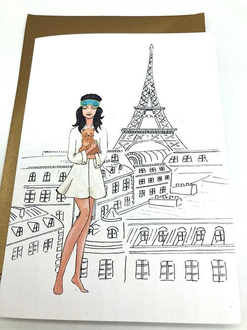 Karte mit goldigem Umschlag - Paris