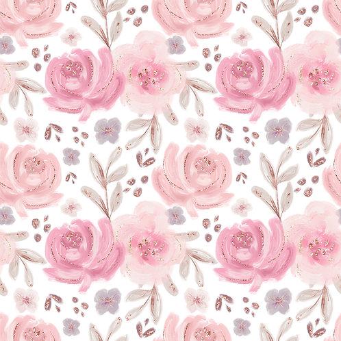 "Baumwollstoff von Petit Lapin Atelier ""Pastel Rosen"""