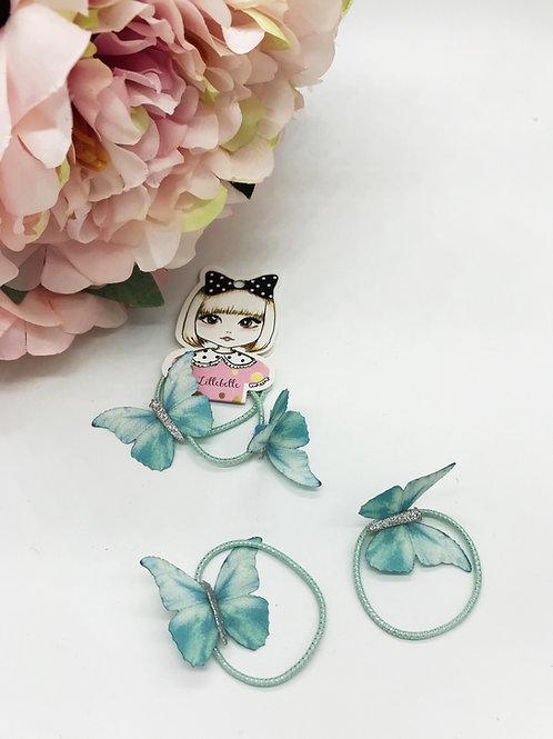 2er Set Haargummis mit Schmetterlingen von Lillebelle - mint